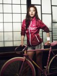 she's cute. i hope that's really her bike.